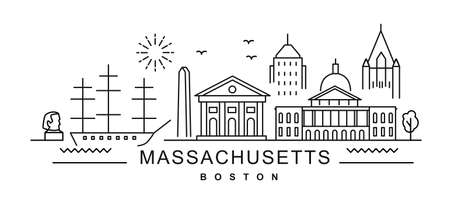 Massachusetts in outline style on white. Landmarks sign with inscription.