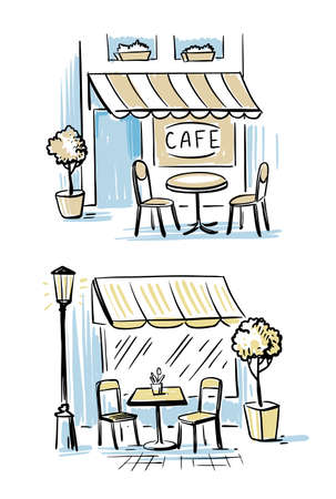 Coffeeshop Outsider. Two outdoor cafes. Hand drawn sketch Vector Illustration