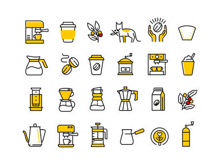 Coffee line icons. Beans, espresso and coffee maker machine. Roasted fresh. Outline set.