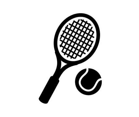 tennis racket and ball icon on white.