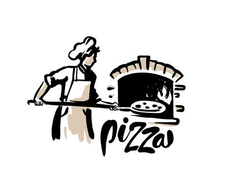 Chef putting pizza and cook to stone furnace.