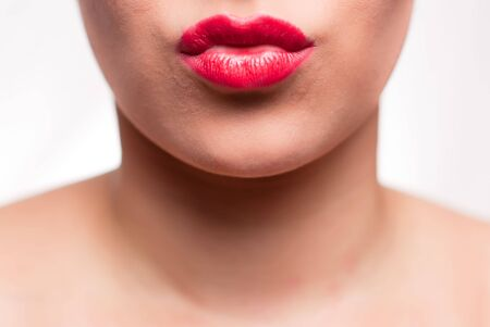 mouth with red lips kissing