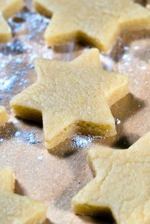 gouged: gouged stars lie in the flour Close