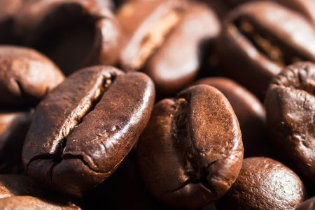 many coffe beans background v1 photo