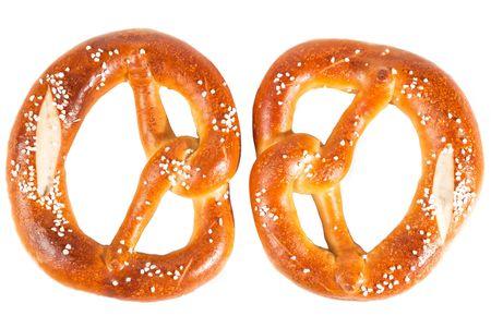 two bavarian pretzels isolated on white Stock Photo - 8063627