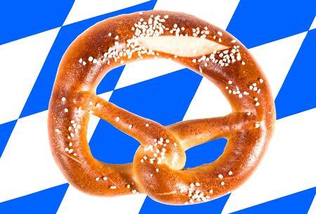 pretzel on a bavarian flag  photo