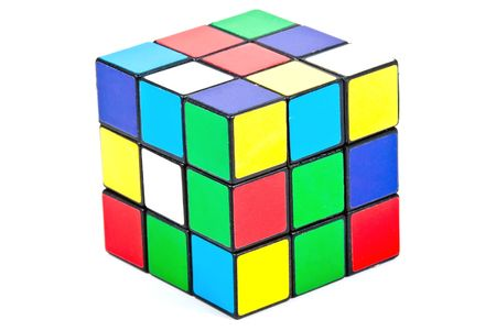 colorful magic cube isolated on white Editorial