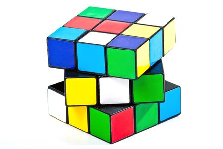 colorful magic cube isolated on white
