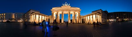 Germany Berlin Panorama Brandenburg Gate at night Stock Photo