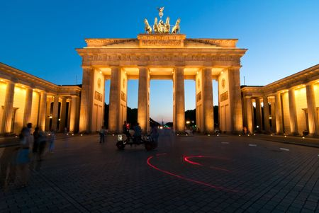 Germany Berlin Brandenburger Tor cross at evening Stock Photo