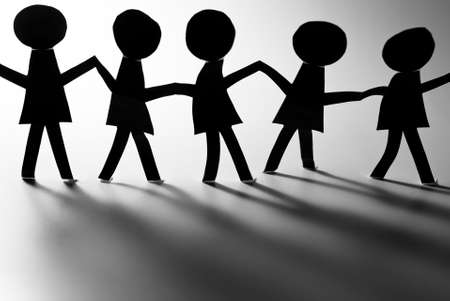 cohesive: human chain with shadows