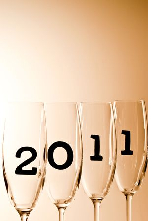 beautiful champagne glasses with 2011 inside photo