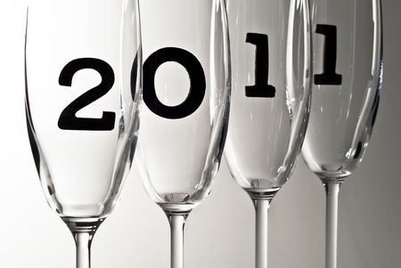 beautiful champagne glasses with 2011 inside Stock Photo - 8152969
