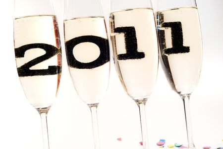 champagne glasses with sparkling wine and 2011 inside Stock Photo - 8152975