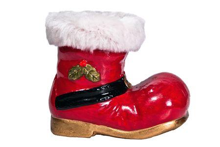 botas de navidad: botas opcional de Navidad rojo sobre fondo blanco  Foto de archivo