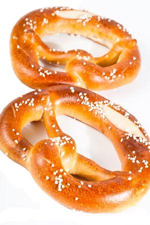 two pretzels on a white background Stock Photo - 8153034