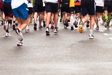 running shoes: Marathons, jogging on the street Stock Photo