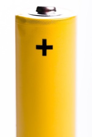 a yellow battery positive pole standing Stock Photo - 9052379
