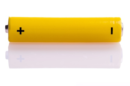 a yellow battery transverse with mirroring Stock Photo - 9052371