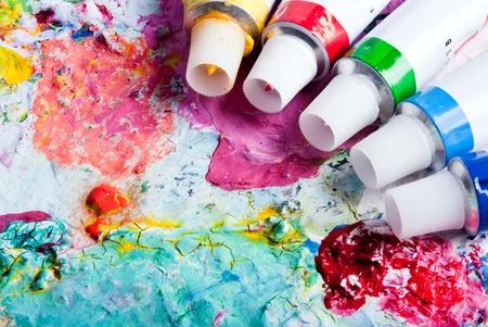 color colorida mezcla paleta de tubos de color diferente Foto de archivo