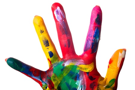 a painted colorful hand close up against white background photo