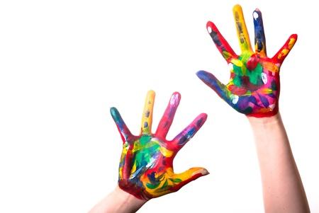 dedo indice: dos pintaron manos coloridas con espacio para texto sobre un fondo blanco Foto de archivo