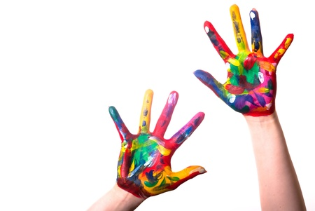 two painted colorful hands with space for text on a white background