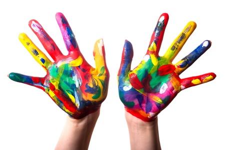 manos logo: dos pintaron manos coloridos fondo blanco Foto de archivo
