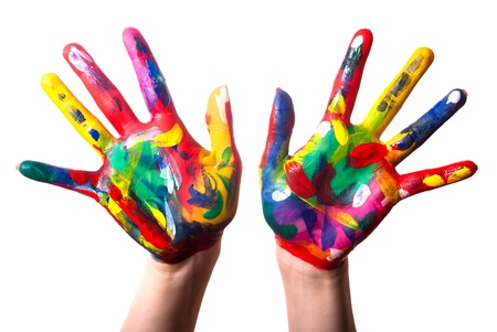 two painted colorful hands against white background