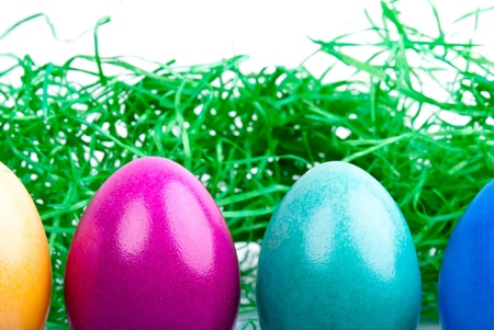 four colored Easter eggs are on a white background with Easter grass photo