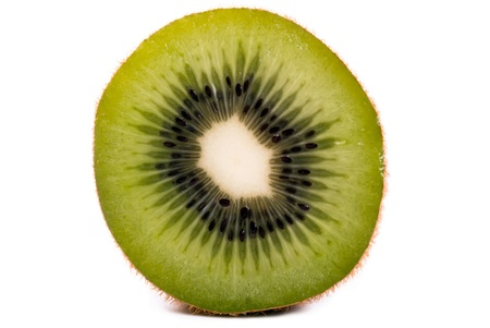 exempted: a halved kiwi exempted from white background