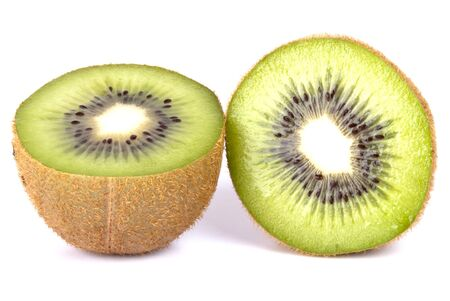 exempted: Kiwi two halves exempted from white background Stock Photo