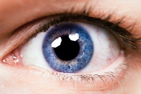green eyes: Close-up of an eye with blue colour of eyes Stock Photo