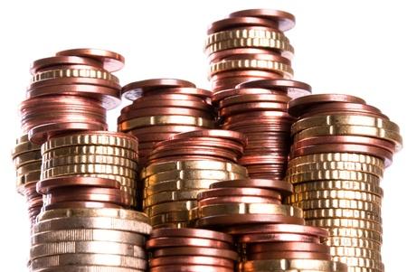 vele munt stapels van eurocoins stand side by side Stockfoto
