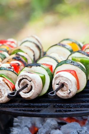 several vegetable spits lie on the grill photo