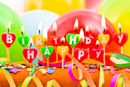 colorfully: burning happy Birthday candles with balloons and confetti