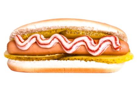 injurious: a Hotdog isolated on white background
