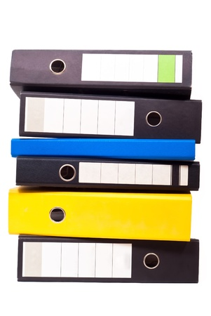 filing system: six files stand about one another on white background