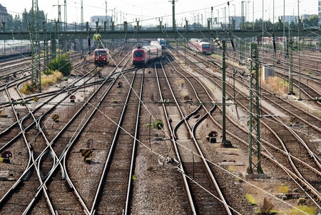 a signal box with many rails and trains Stock Photo