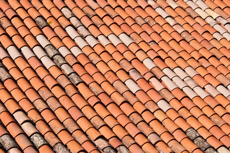 a red brick roof as a texture or background Stock Photo - 11408414