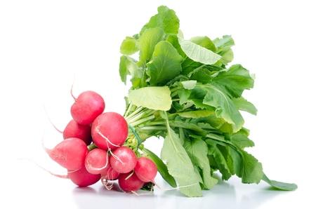 isolates: bunch radish isolates before white background Stock Photo