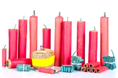 many different firecracker before white background photo