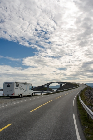 The Atlantic coast road with motorhome photo