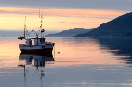 small boat: a fishing boat lies at sundown in the fjord