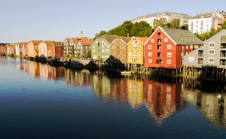 colourfully: famous house wall in Trondheim Norway Stock Photo