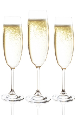 to stumble: champagne glasses isolated before white background