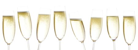 solemnity: champagne glasses isolated before white background