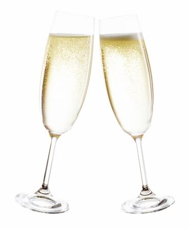 coupe de champagne: verres de champagne isol� avant fond blanc