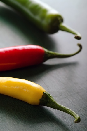 colourfully: a green, yellow and red chilli Stock Photo