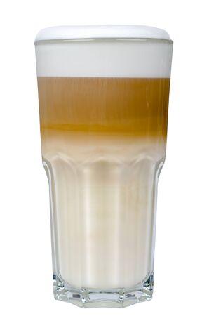 latte macchiato: latte macchiato in a glass isolated before white background
